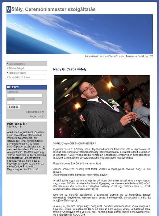 Vőfély Megoldás első igazi honlapja így nézett ki